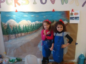 Phoebe and Anysa working on Winter wonderland Mural 1212
